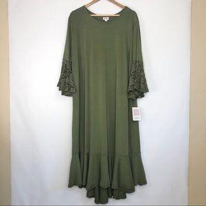 LuLaRoe Green Lace Sleeve Maurine Dress Size 3XL